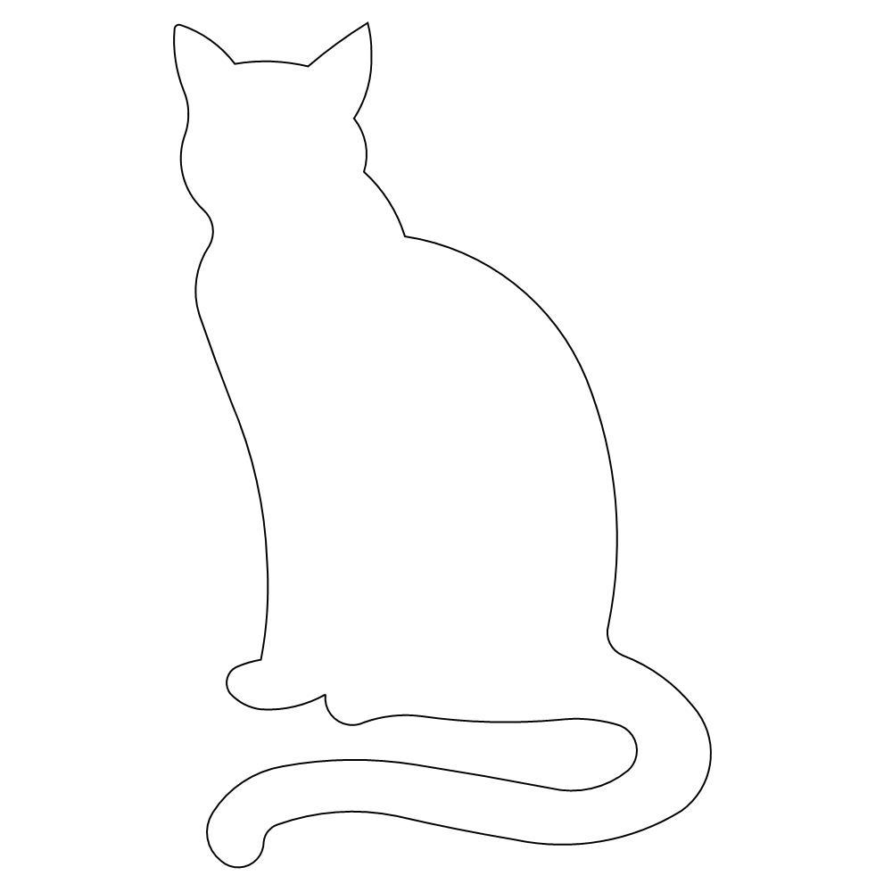 sitting cat outline 001
